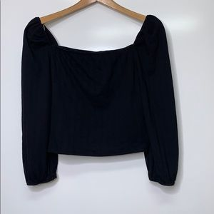 WILD FABLE Black Crop Puff Sleeves Cotton Blouse